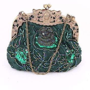 Green Beaded Victorian Purse