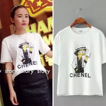 Chenel And Cartoon Print Short-Sleeve Shirt
