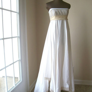 Strapless Wedding Gown Simple Beach Prom Cotton by colorada