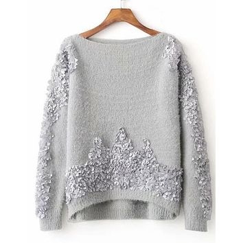 Fuzzy Knit Detailed Sweater