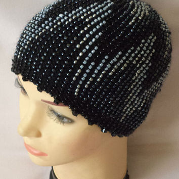 knitted hat with beads.  hat with beads