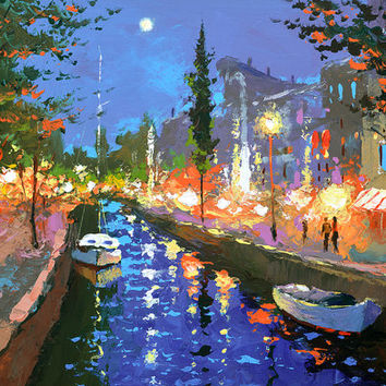 Moonlight Sonata 2 - OIL PALETTE KNIFE Painting on canvas by Dmitry Spiros. 40x28 in. (100 x 70 cm)