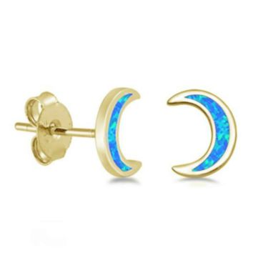 .925 Sterling Silver Yellow Gold Moon Crescent Blue Fire Opal Ladies Stud Earrings
