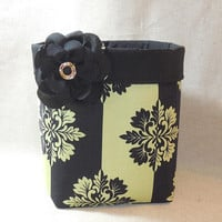 Striking Black and Celery Green Fabric Basket With Detachable Fabric Flower Pin
