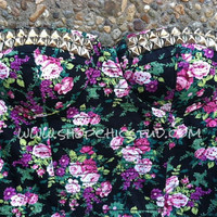 Studded Bustier LARGE Corset Floral Silver OR Gold Studs