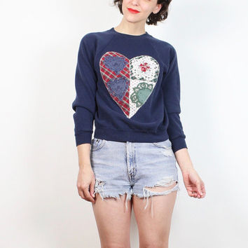 Vintage 90s Sweatshirt Navy Blue Country Revival Kitsch HEART Doily Plaid Embroidered 1990s Sweatshirt Soft Grunge Jumper XS Extra Small S