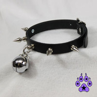 PAWSTAR Spike KITTY BELL collar choker costume halloween cosplay goth Punk 5051