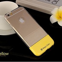 iPhone 6 Case, Candy Pantone Thin Protective [Scratch-Resistant] [Perfect Fit] Translucent Hard Back cover Cute Case for Iphone 6 4.7 inch(Clear&Yellow)