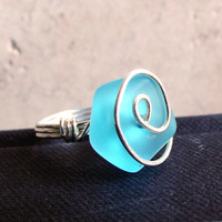 Ocean Blue Sea Glass Ring:  Silver Wire Wrapped Ring, Something Blue Beach Wedding Jewelry, Silver Swirl Ring, Bridesmaid Gift, Bridal Party