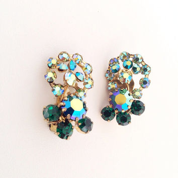 Aurora Borealis Austrian Crystal Earrings - AB rhinestones - vintage blue green crystal rhinestone - Signed Made in Austria - gold emerald