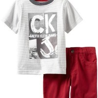 Calvin Klein Little Boys' Short Sleeved Striped Tee With Short, Gray, 2T