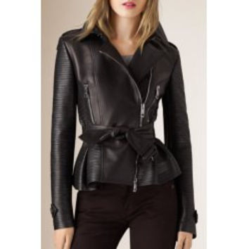Stylish Turn-Down Collar Long Sleeve PU Leather Self Tie Belt Women's Black Jacket