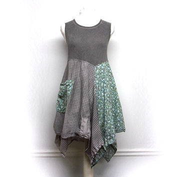 Boho Chic Dress, Artsy Clothing, Patchwork Clothing, Unique Clothing, Bohemian Clothing, Sustainable Upcycled Clothing for Women