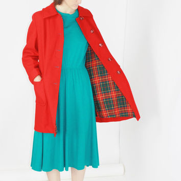 60s red pea coat midi coat long jacket twee coat color block coat mid-century coat classic small wool coat MEDIUM MED M
