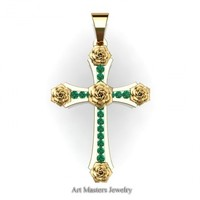 Classic Bridal 14K Yellow Gold Emerelad Rose Cross Pendant Wedding Jewelry C486S-14KYGEM