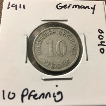 1911 German Empire 10 Pfennig Coin 0040