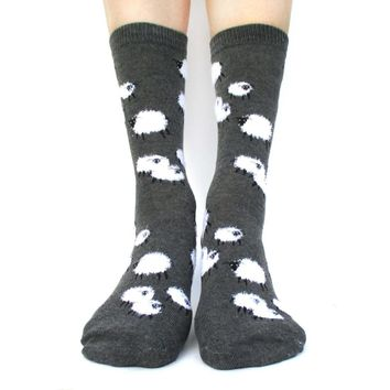 Sheep Farm Novelty Printed Fluffy Comfortable Long Socks for Women in Dark Grey