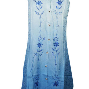 Boho Gypsy Hippy Womens Sundress Floral Embroidered Button Front Rayon Dresses