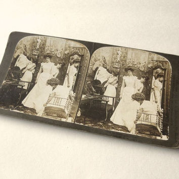 Dressing of the Bride Stereograph Card 1903 Bridesmaids Antique Sepia Photo Gibson Girls Stereoscopic Stereoview Stereo Card