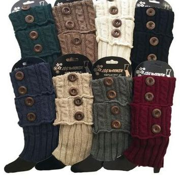 Winter Boot Socks Sweater Leg Warmers Button Detail: Solid/Multi-Colors