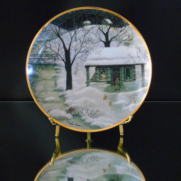 Franklin Mint Moonlight Visitors Limited Edition Porcelain Plate Visitors Series Folk Artist Carol J. Endres Tranquil Country Scene