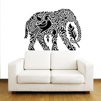 Indian Elephant Wall Decals - Floral Pattern Wall Vinyl Decal - Interior Home Decor - Wall Decal - Housewares Art Vinyl Sticker Decal V1068