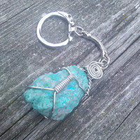 Raw Chrysocolla keychain,Crystal key chain.Gemstone Keychain, Boho key chain,Gypsy key chain,Wiccan Keychain,Pagan Key chain,Shaman