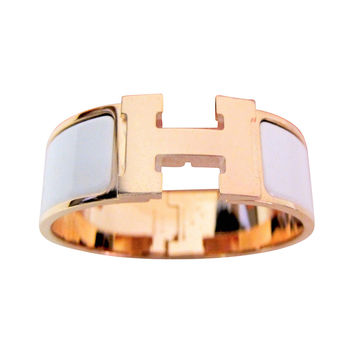 Hermes White Clic Clac Enamel Bracelet with Rose Gold Hardware