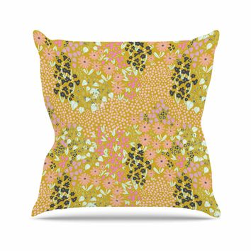 "Akwaflorell ""Colorful Garden2"" Coral Pastel Illustration Throw Pillow"
