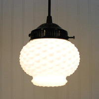 Vintage Milkglass Hobnail Globe PENDANT Light by LampGoods on Etsy