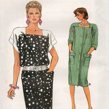 Retro 80s Vogue Sewing Pattern New Wave Style Loose Fit Button Front Drop Shoulder Dress Square Neckline Casaul Uncut Plus Size