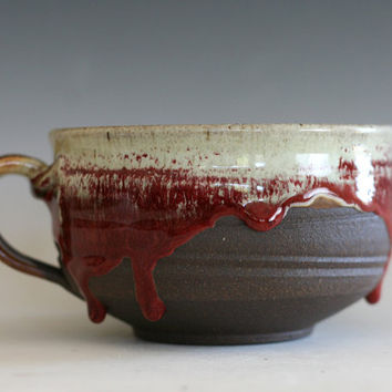Cappuccino Mug, 26 oz, Pottery Coffee Mug, handmade ceramic soup bowl, handthrown mug, stoneware mug, pottery mug, unique coffee mug
