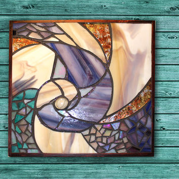 Nautical Stained Glass Panel / Blue Seashell Mosaic