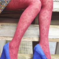 Moroccan Pattern Lace Tights Wine Red