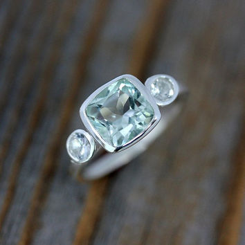 Prasiolite Green Amethyst and White Sapphire Ring, Cushion Gemstone Ring in Sterling Silver