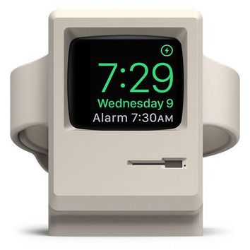 Elago W3 Stand [original Design Awards] [white]   [vintage Apple Monitor][supports Nightstand Mode][cable Management]   For Apple Watch Series 1 2 And 3