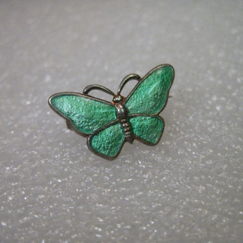 Vintage Sterling Silver Guilloche  Volmer Bahner Butterfly Brooch, Denmark, pacific green color
