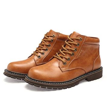 Men Genuine Leather Casual Ankle Boots