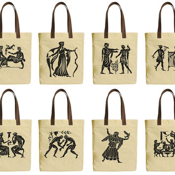 Collection of Greeks Beige Print Canvas Tote Bag Leather Handles WAS_30