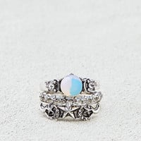 AEO Star & Stones Rings 3-Pack, Silver