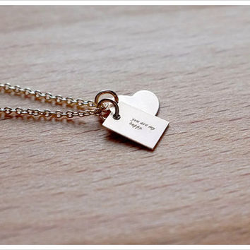 Add a charm to necklace, bracelet - mini heart charm - 14k GF - Gift For Her - Simple Minimalist Everyday Jewelry LITTIONARY