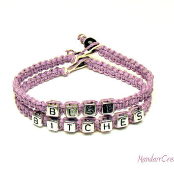 Best Bitches Bracelet Set of Two, Light Purple Macrame Hemp Jewelry for Friends, Friendship Bracelets