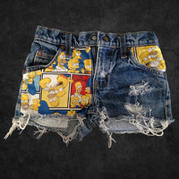 Simpsons Comic Strip Levi's Denim Cutoff Shorts 23W