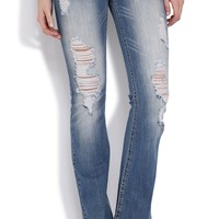 Z Co Flare Jean with Blasted Wash and Fleur De Lys Pockets
