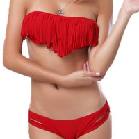 Gorgeous Fringe Red Swimsuit