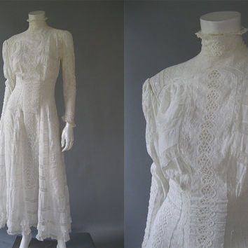 Edwardian Wedding Dress - 1900s Eyelet White Lace Dress - Antique Tea Dress