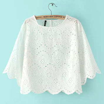 White Batwing Sleeve Embroidered Eyelet Blouse