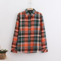Fashion Women Plaid Shirt Flannel Shirt Long Sleeve Women Blouse Shirt Cotton Tops Blouse