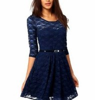New Spoon Scoop Neck 3/4 Sleeve Lace Skater Dress Includes belt size 8 10 12