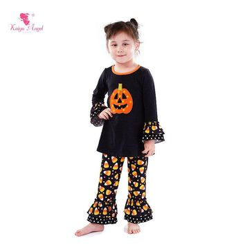 Kaiya Angel Halloween Girls Boutique Outfits Orange Smiley Pumpkin Long-Sleeve Tops+Black Bottom Print Pants Back To School Sets